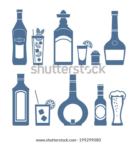 Set of alcohol drinks and coctails icons. Vector. - stock vector
