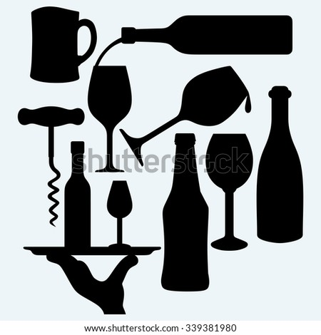 Set of alcoholic beverages: a bottle of wine with a glass bottle on a tray and a glass of beer. Isolated on blue background. Vector silhouettes
