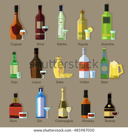 Set of Alcoholic drinks. Pairs of bottles and special wine glasses. Vector colorful flat icons with shadow. For bar and restaurant menu, retail navigation. Isolated on a background.
