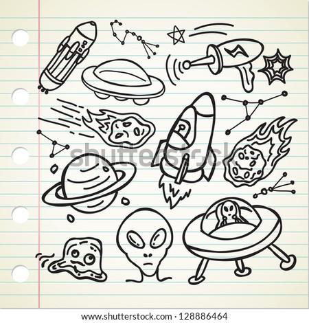 set of alien stuff doodle - stock vector