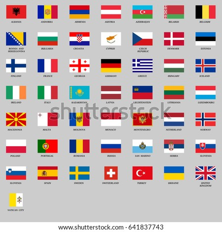 set of all Europe flags. Vector Illustration