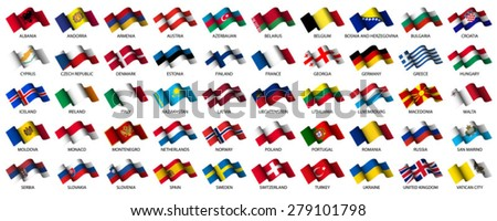 set of all european flags on white background - stock vector
