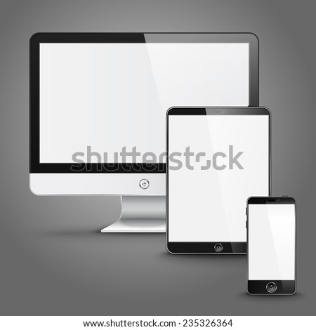 Set of all size screen devices for site preview - computer, tablet, phone sizes on grey background. Vector - stock vector