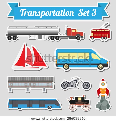 Set of all types of transport icon  for creating your own info graphics or maps. Water, road, urban, air, cargo, public and ground transportation set. Vector illustration - stock vector