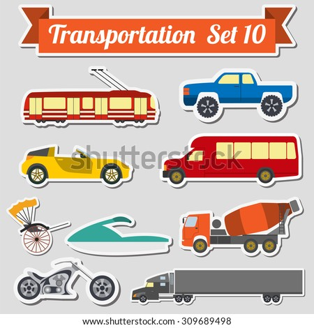 Set of all types of transport icon  for creating your own infographics or maps. Water, road, urban, air, cargo, public and ground transportation set. Vector illustration