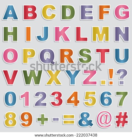set of alphabet and number stickers with bright gradients, transparencies on shadows - stock vector