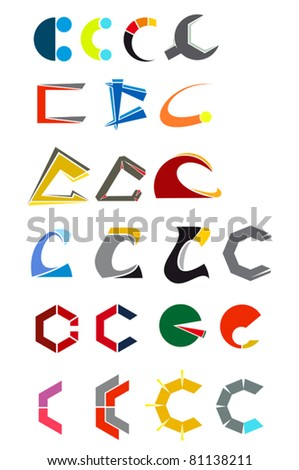 Set of alphabet symbols and elements of letter C. Jpeg version also available in gallery