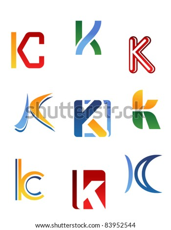 Set of alphabet symbols and elements of letter K, such a logo. Rasterized version also available in gallery - stock vector