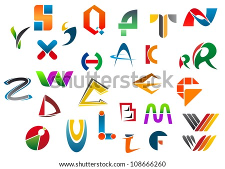 Set of alphabet symbols and icons from A to Z, such a logo idea. Jpeg version also available in gallery - stock vector