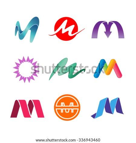 Set of alphabet symbols of letter M  Letter M design template - stock vector