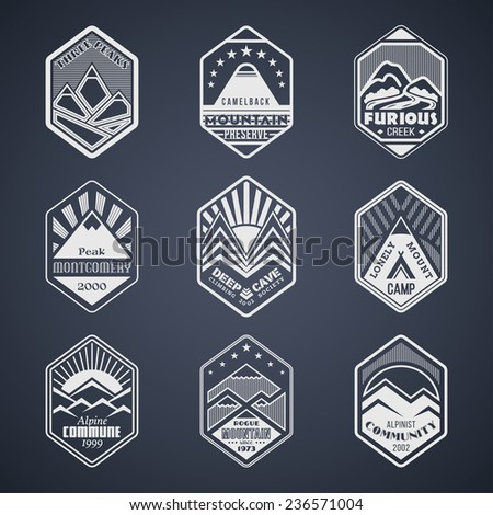 Set of alpinist and mountain climbing outdoor activity vector logos on black.Logotype templates and badges with mountains, peaks, creeks, trees, sun, tent.National parks and nature exploration symbols - stock vector