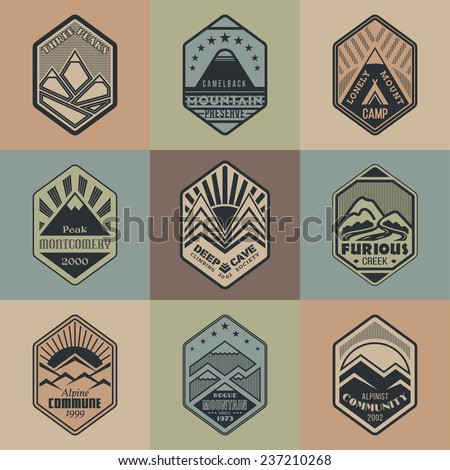 Set of alpinist and mountain climbing outdoor activity vector logos on color background.Logotype templates and badges with mountains, creeks, sun, tent. National parks and nature exploration symbols - stock vector