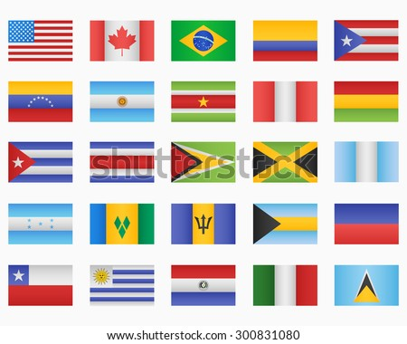 Set of American countries Flags - stock vector