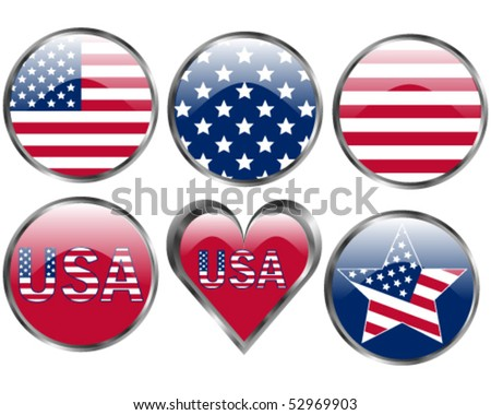 Set of American Flag Buttons - stock vector
