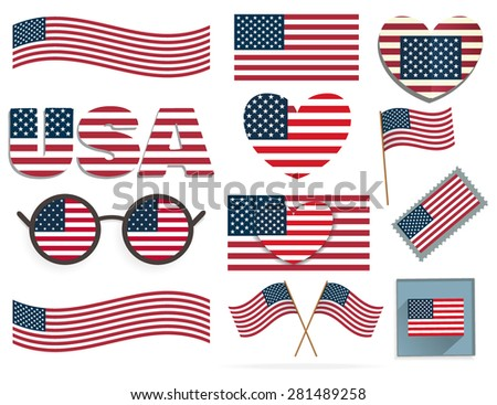 Set of American flags and hearts, vector set of 4th july american independence day background