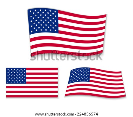 Set of american flags. Vector illustration - stock vector