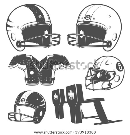 Set of American football monochrome style for emblems ,logo and labels.