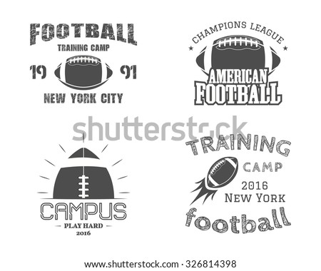 Set of american football team campus badges, logos, labels, insignias in retro monochrome style. Graphic vintage design for t-shirt, web. Colorful print isolated on a dark background. Vector. - stock vector