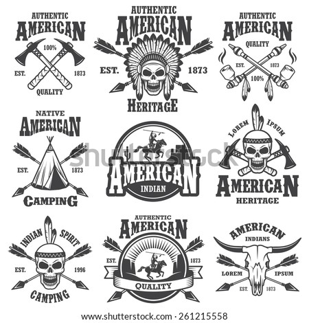 Set of american indian emblems, labels, badges, logos and designed elements. Wild West theme. Monochrome style - stock vector