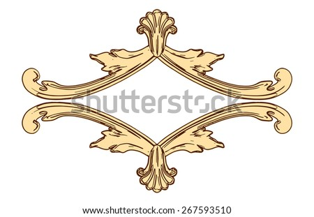set of an ancient gold  ornament on a white background - stock vector