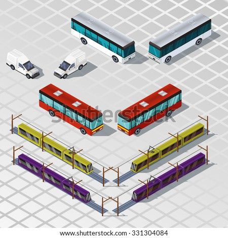 Set of an isometric cars, buses and trams illustration. 3d transport icon. Isometric train. - stock vector