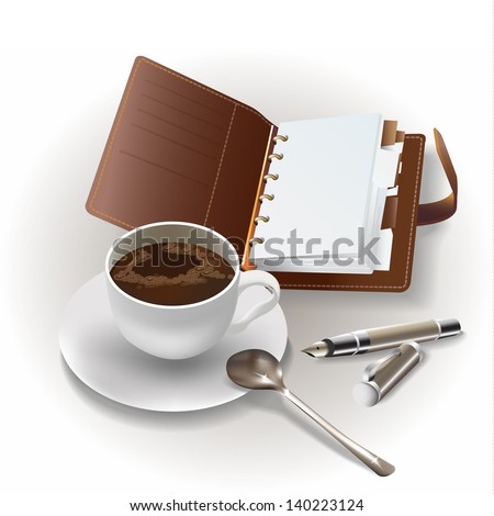 Set of an organizer, a cup of coffee and a pen, isolated on  white background. Vector illustration - stock vector