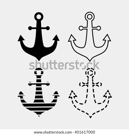 Set of anchor icon isolated on white background. Anchor symbol.