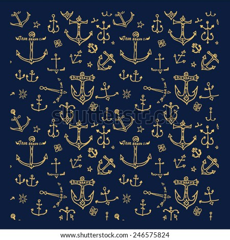 Set of anchor symbols - stock vector