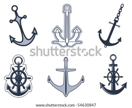 Set of anchor symbols for design or logo template. Jpeg version also available - stock vector