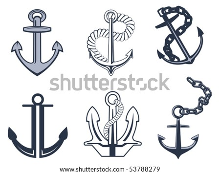 Set of anchor symbols or logo template. Jpeg version also available in gallery - stock vector