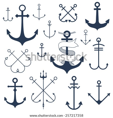 Set of anchors - stock vector