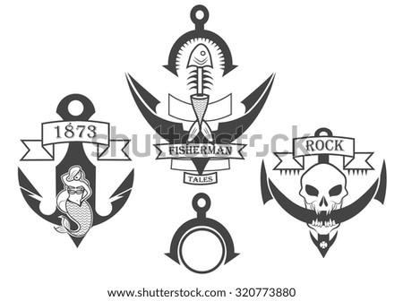 set of anchors design elements - stock vector