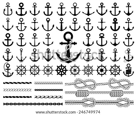 Set of anchors, rudders icons, and ropes. Vector illustration. - stock vector