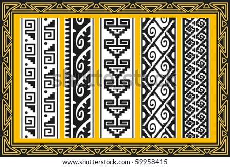 Set of ancient american indian patterns - stock vector