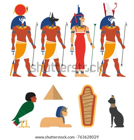 Set ancient egypt gods symbols characters stock vector 763628029 set of ancient egypt gods symbols and characters flat vector illustration isolated on white publicscrutiny Image collections