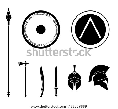 Set Ancient Greek Spartan Weapon Protective Stock Vector Royalty