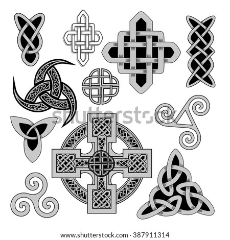 set of Ancient pagan Scandinavian sacred symbols and ornaments - Celtic cross, knot, a symbol of the Druids, Triskele, Odin's Horn - stock vector