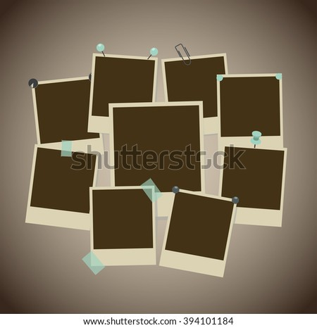 Set of ancient photo frames with pins, pushpins, adhesive tape, clips. vector illustration - stock vector