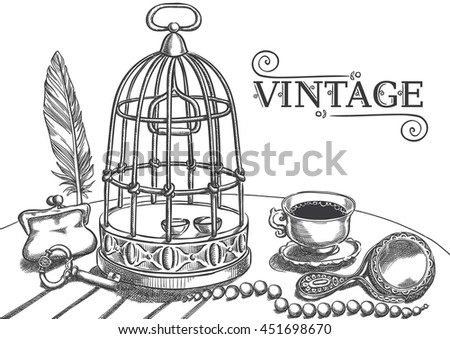 Set of ancient things,birdcage , key, pen, cup