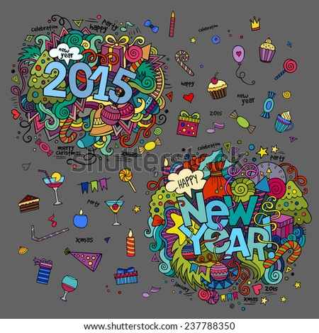 Set of 2015 and New Year hand lettering and doodles elements background - stock vector