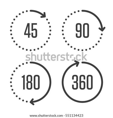 Set Angles 45 90 180 360 Stock Vector 551134423 Shutterstock