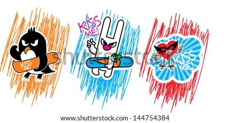 set of angry cartoon animals - stock vector