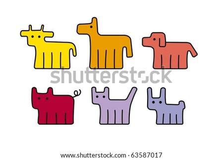 set of animal - stock vector
