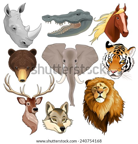 Set of animal heads. Vector isolated elements. - stock vector