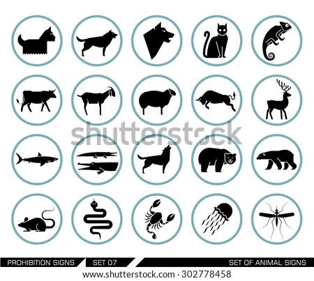 Set of animal icons. Collection of different animal icons in pictogram style. Vector illustration. - stock vector