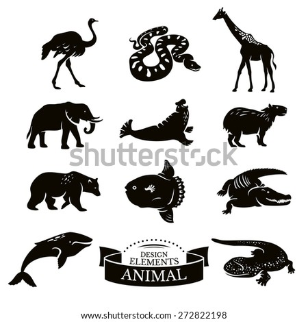 Set of animal icons vector illustration - stock vector