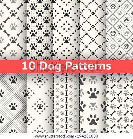 Set of animal seamless vector pattern of paw footprint in repeating rhombus.  - stock vector