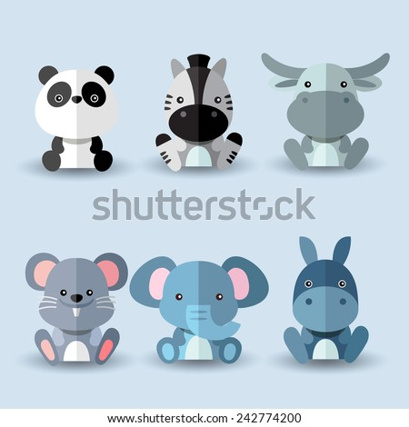Set of animal vectors : Blue and Grey Set - stock vector