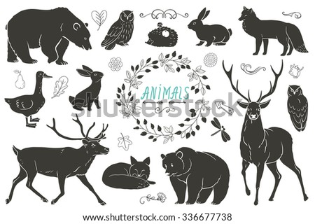 Set of animals and ribbons silhouettes. Vector monochrome sketch. Hare, bear, fox, owl, deer, goose, dragonfly, hedgehog.  - stock vector