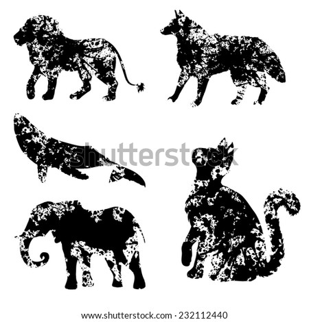 Set of animals blots silhouettes. Collection of blob shadows.  - stock vector